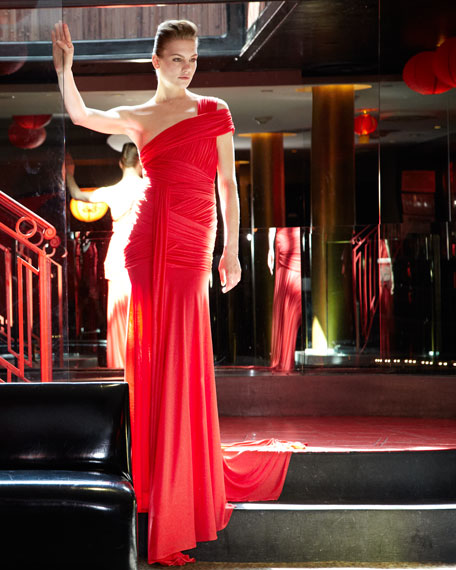 Crisscross One-Shoulder Gown