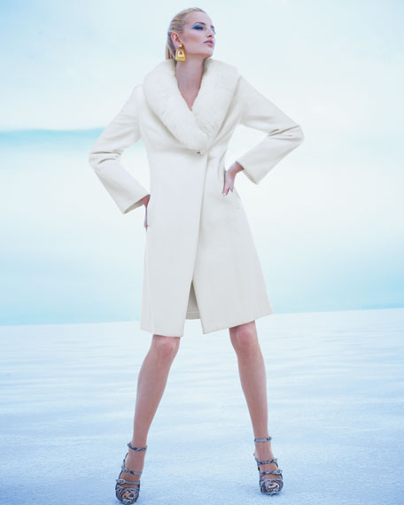 Fur-Collar Felt Coat