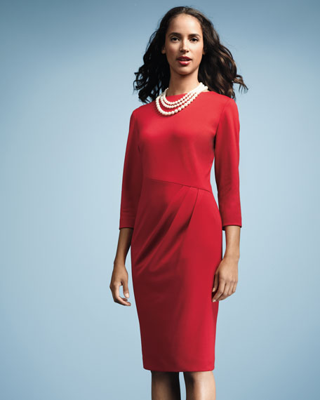 Side-Tuck Jersey Dress