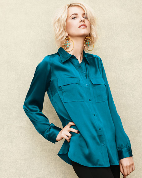 Charmeuse Button-Front Blouse, Women's