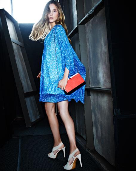 Fleurette Chiffon Dress, Fleck Blue