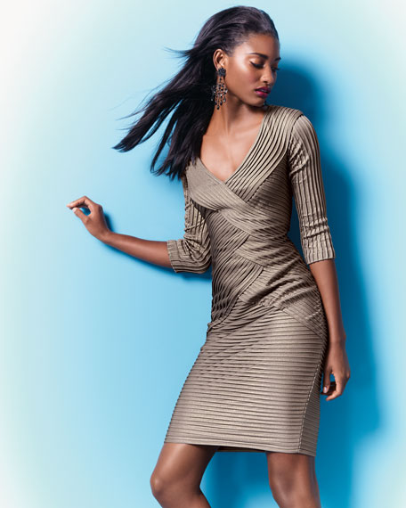 Three-Quarter-Sleeve Pleated Cocktail Dress