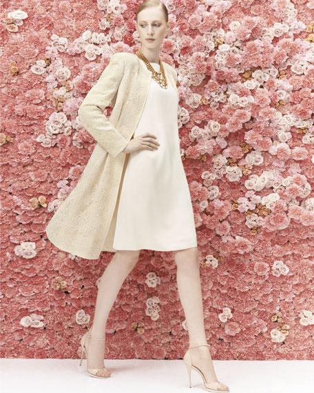 Jacquard Coat over Satin Sheath Dress