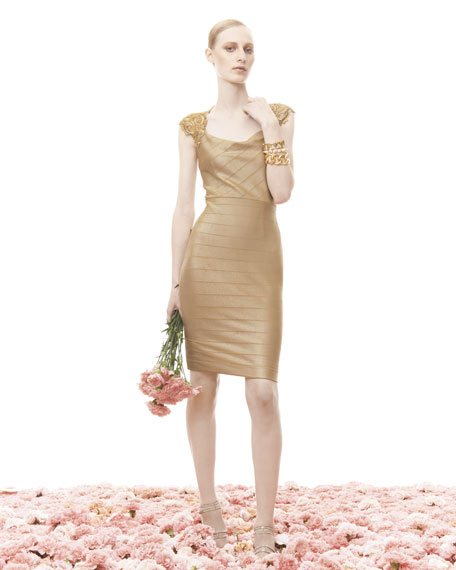 Embroidered Cowl-Neck Cocktail Dress