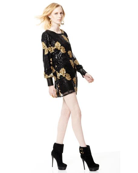 Ellen Floral-Sequin Dress