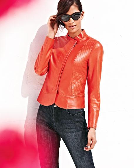 Leather Asymmetric-Zip  Jacket