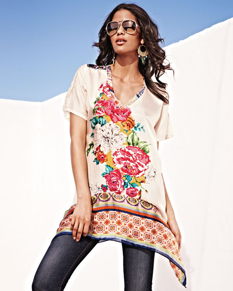 Floral-Print Georgette Tunic, Print A, Women's