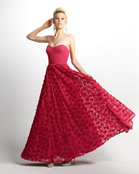 Rosette-Skirt Strapless Gown
