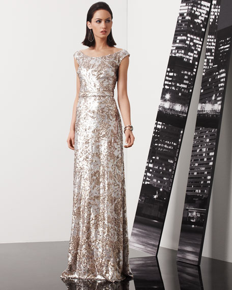 David Meister Sequined Lace Cap-Sleeve Gown