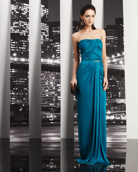 Bead-Waist Strapless Gown