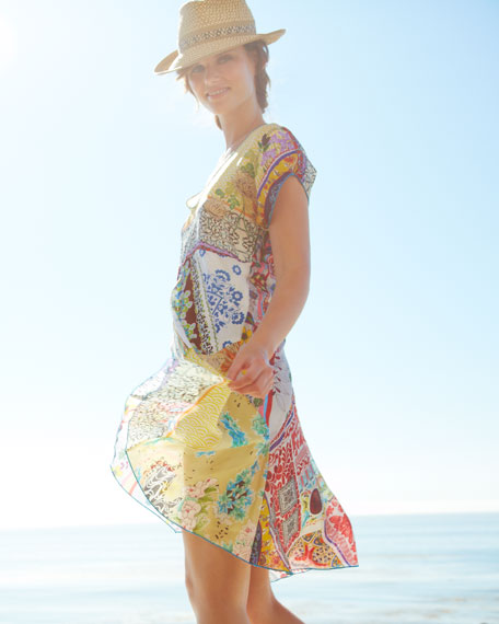Mixed Print Silk Flare Dress