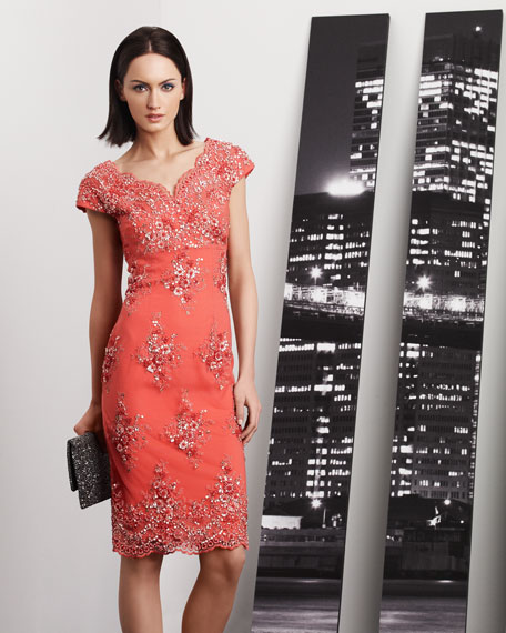 Floral-Embellished Cocktail Dress