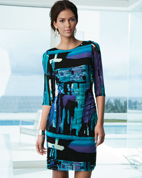 Printed Mesh 3/4-Sleeve Dress