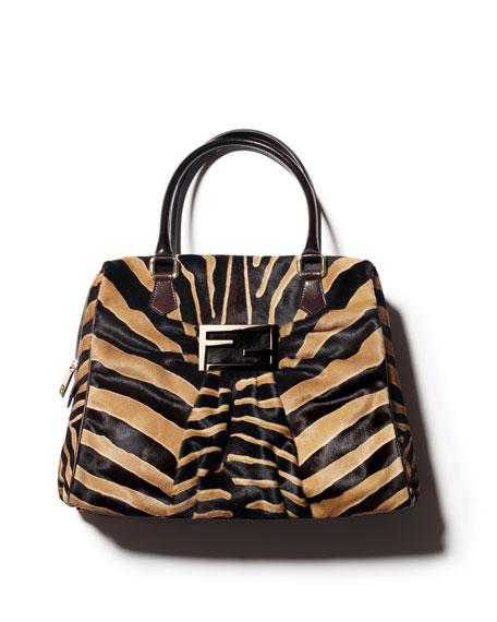 Zebra-Print Calf Hair Mia Bag