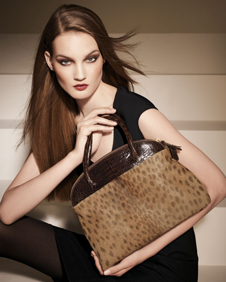 Crocodile & Calf Hair Dome Bag