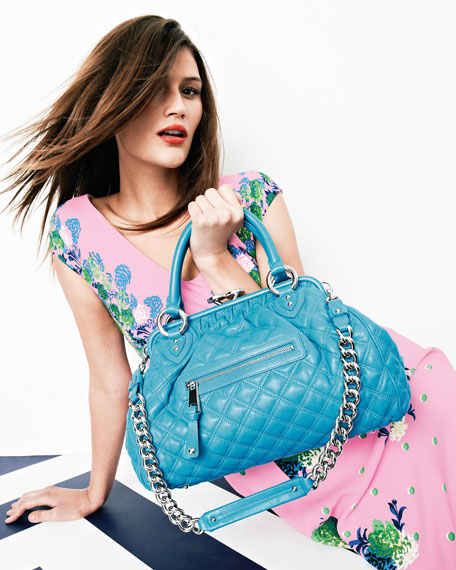 Stam Quilted Satchel Bag, Turquoise