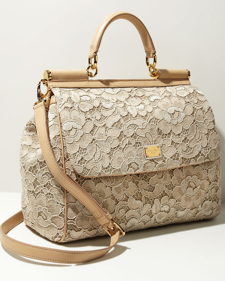 Miss Sicily Lace Flap Bag, Nude
