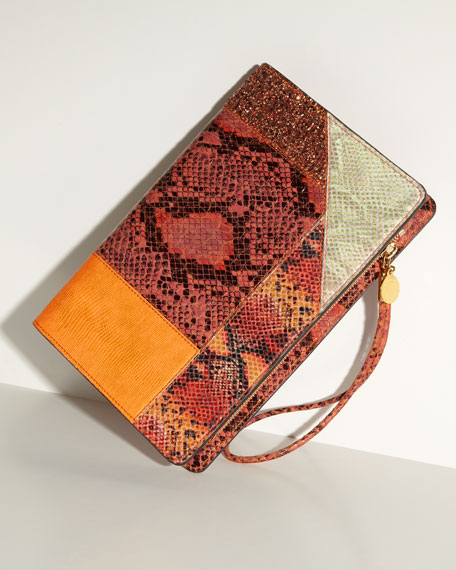Patchwork Wristlet Clutch Bag, Orange