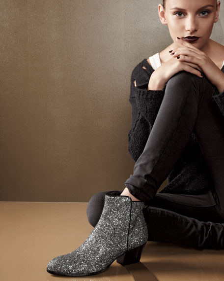 Glitter Mid-Heel Ankle Boot