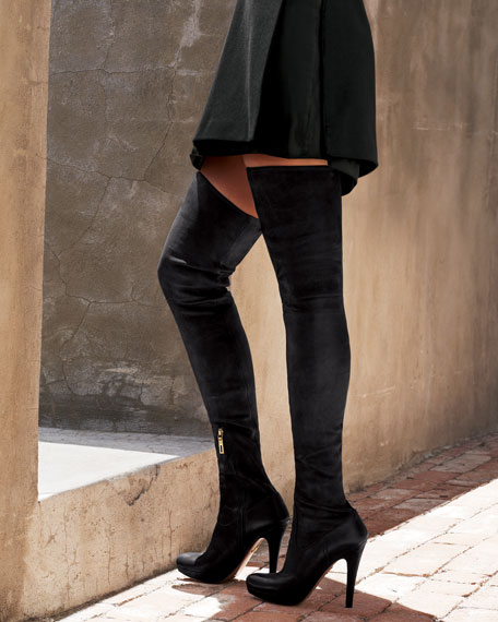 Stretch Leather Over-The-Knee Boot