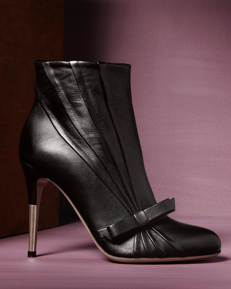Pleated Bow Ankle Boot