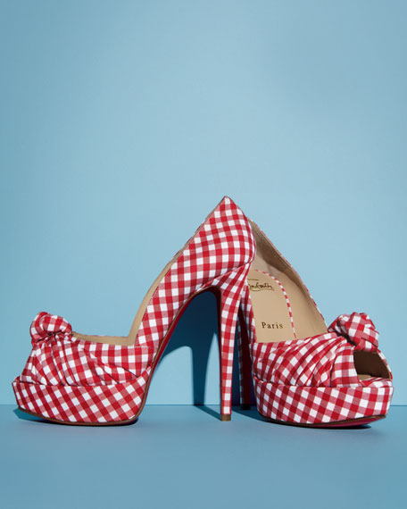 christian louboutin white spiked - Christian Louboutin Gressimo Gingham Knot Pump