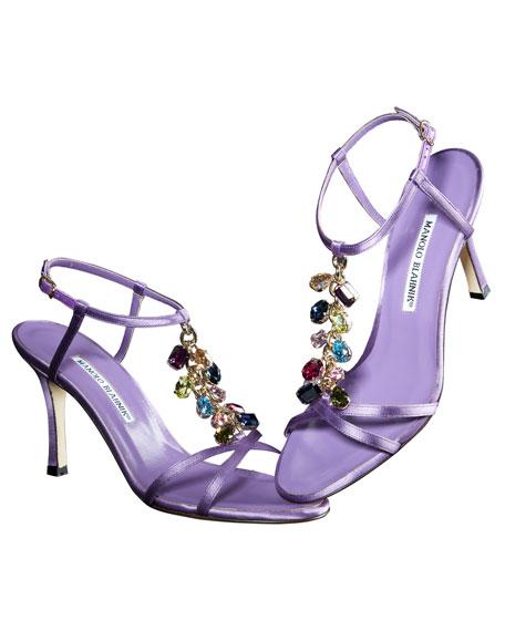 Satin Crystal-Strap Sandal, Lavender