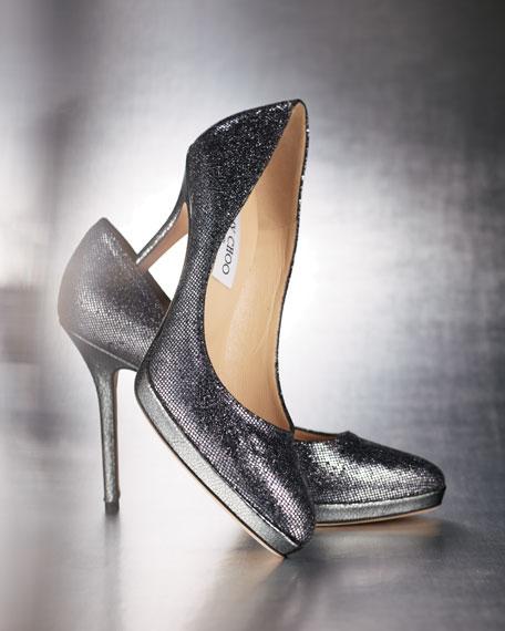 Aimee Glitter-Fabric Platform Pump