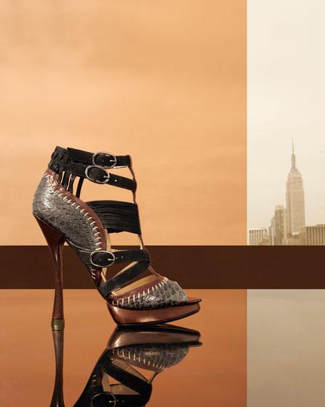 Python/Leather Gladiator Sandal