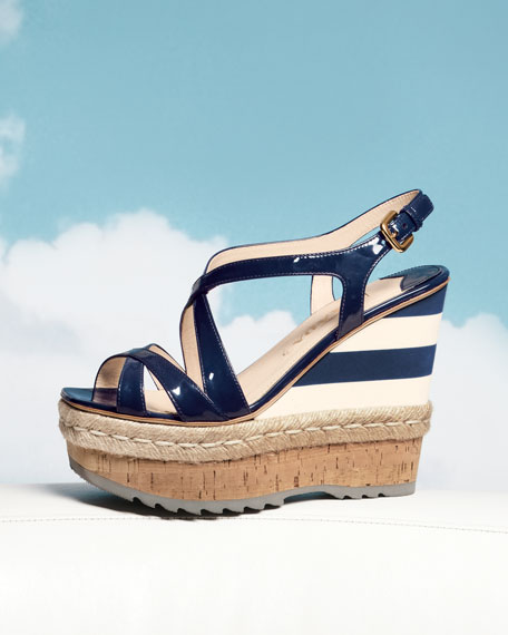 Patent and Mirco Wedge with Espadrille Detail