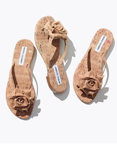 Patricia Flecked Cork Flower Thong Sandal