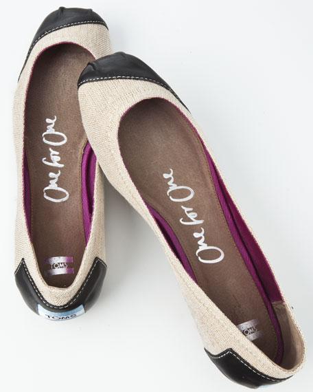 Meridian Leather/Burlap Ballerina Flat