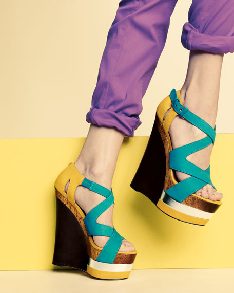 Colorblock Platform Wedge