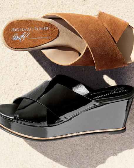 Suede Crisscross Wedge Sandal