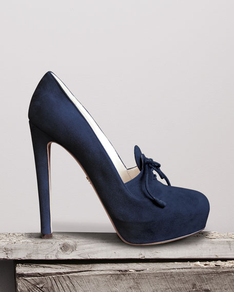 Suede Lace-Up Pump