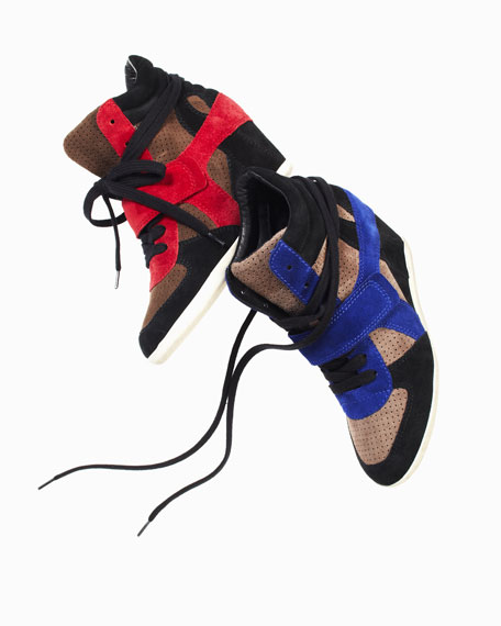 Colorblock Suede Wedge Sneaker
