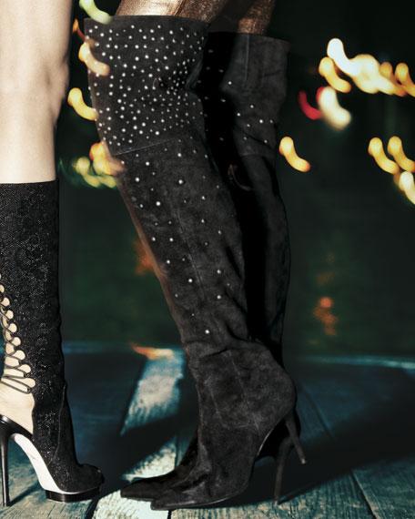 Marija Studded Suede Over-the-Knee Boot