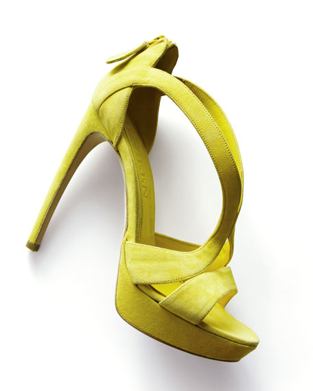 High-Heel Double-Arched Suede Sandal, Yellow