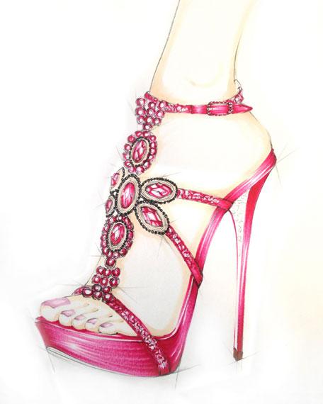 Rene Caovilla Crystal-Beaded Sandal