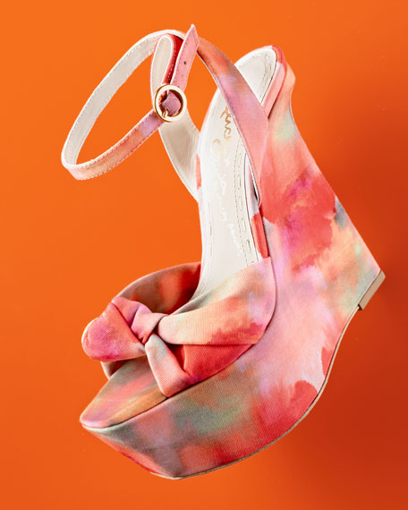 Ilisa Watercolor-Print Wedge Sandal