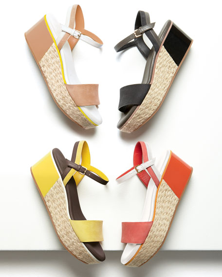 Arden Nubuck Wedge Sandal, Orange Pop