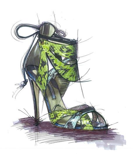 Uma Ankle-Cuff Snakeskin Sandal