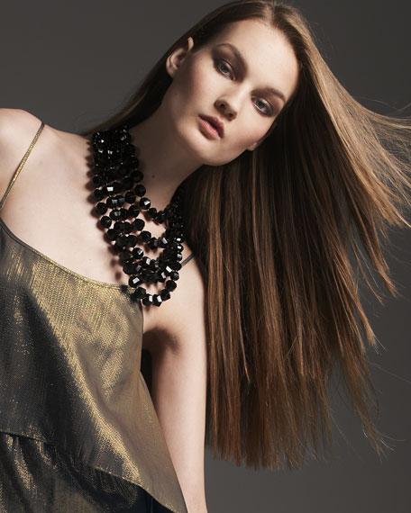 black bead bib necklace