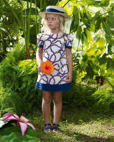 Ribbon-Print Silk Dress