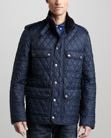 Burberry Brit Models - Cord-Collar Quilted Jacket & Faded Dark Jeans.