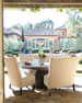 Round Glass-Top Table & Tufted Outdoor Seating, Beige