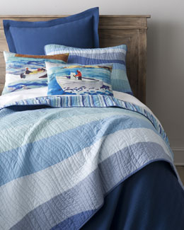 """Speedboat"" Pillows & ""Ocean Wave"" Bed Linens"