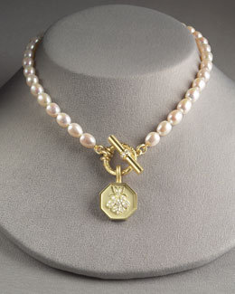 Slane Jewelry Gold Bee Pendant & Pearl Necklace