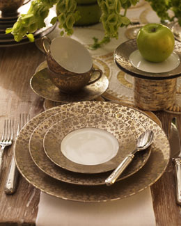 "Jaune de Chrome ""Big Bang"" Bronze Dinnerware"