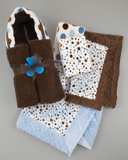 Swankie Blankie Dot Baby Receiving Set, Blue